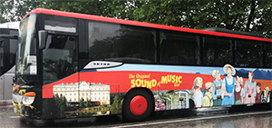 A Sound of Music Tour Bus in a parking lot
