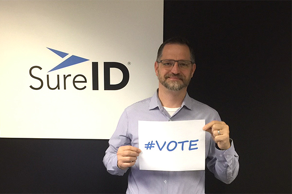 Ned with #vote sign