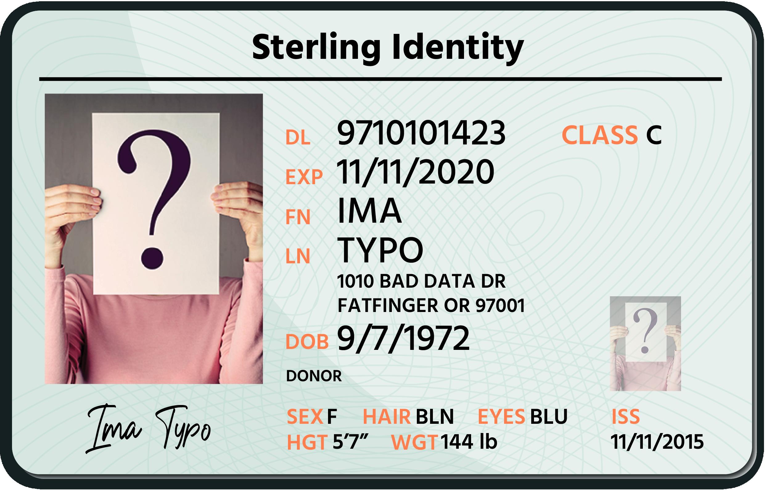Mock driver's license - front